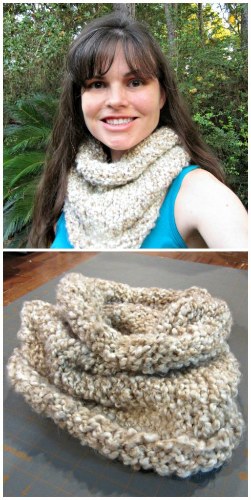 Chunky Knit Cowl in Pearls